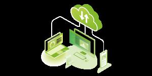 Vector servicios de Monitorización del Cloud o Cloud Monitoring